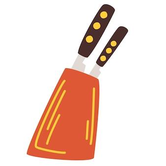 Blok noża. sprzęt kuchenny. drewniany uchwyt na nóż. kuchnia zestaw narzędzi szefa kuchni.