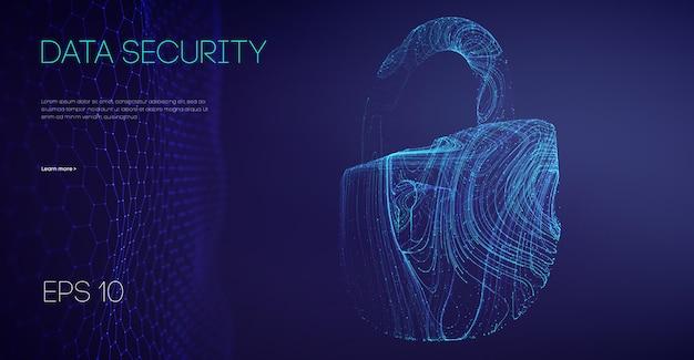 Blokada bezpieczeństwa sieci. cyberbezpieczeństwo technologii informacyjnej. ochrona danych e-mail w chmurze w pracy zespołowej it. ilustracja wektorowa.
