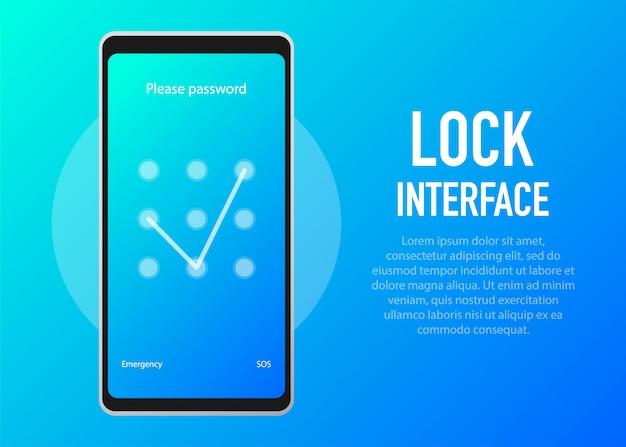 Blokada ekranu. p interfejs ekranu blokady lub wprowadź strony z hasłami.