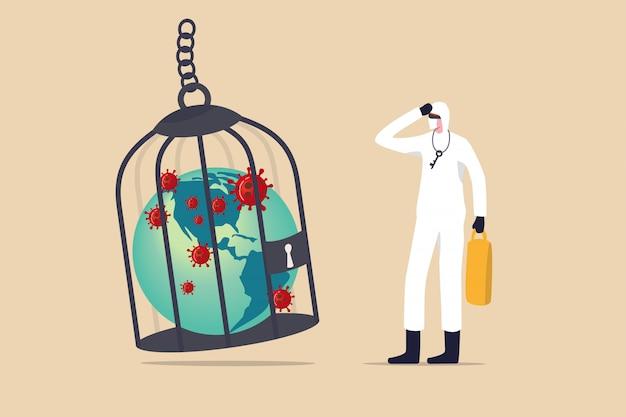 Blokada koronawirusa covid-19 lub kwarantanna, ograniczony dostęp do walki w kraju z wybuchem wirusa covid-19, pracownik medyczny pełen sprzęt ochronny z kluczem po zamkniętej planecie chorej ziemi w klatce