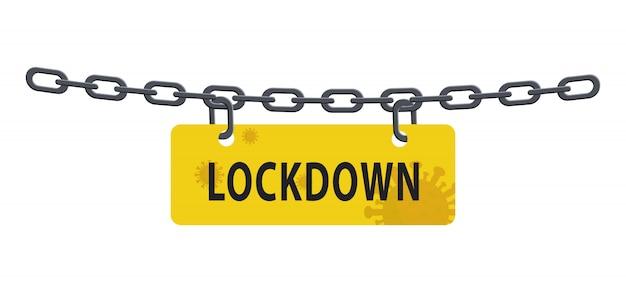 Blokada łańcucha blokady od wybuchu pandemii wirusa na białym tle. akcyjna ilustracja w płaskim projekcie.