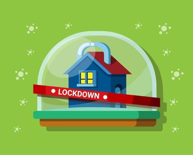 Blokada pobytu w domu symbolu zapobiegania wirusowi korony wektor ilustracja