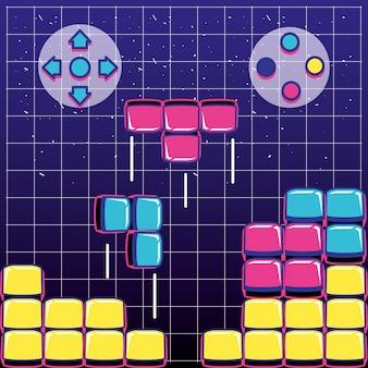 Bloki gier wideo z przyciskami sterowania