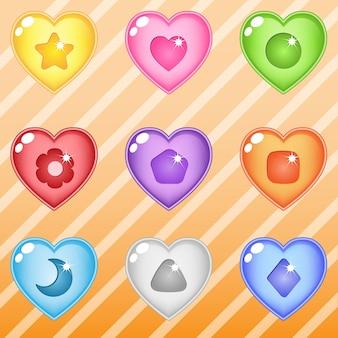 Bloki świecące galaretką w kształcie serca