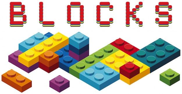 Bloki zabawek w wielu kolorach