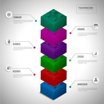 Blokowa koncepcja pracy zespołowej infographic.