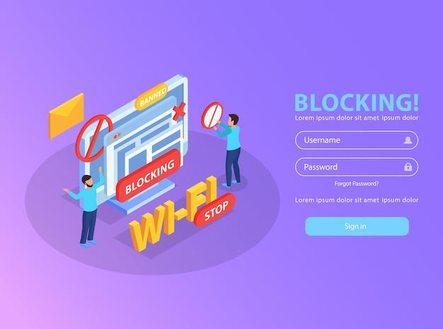 Blokowanie adresu ip komputera z sieci wi-fi dla obraźliwych wiadomości izometrycznych ilustracji ze znakiem zakazu