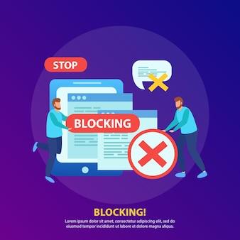 Blokowanie adresu ip tabletu z sieci wi-fi zatrzymywanie obraźliwych wiadomości skład ilustracji izometrycznej ze znakiem stop