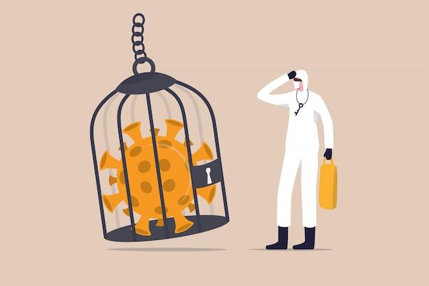 Blokowanie lub kwarantanna wirusa koronawirusa covid-19, ograniczony dostęp do walki w kraju z koncepcją wybuchu wirusa covid-19, pracownik medyczny z pełnym wyposażeniem ochronnym z kluczem po zamknięciu patogenu wirusa w klatce