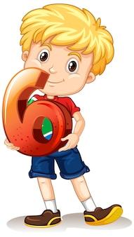 Blond chłopiec trzyma numer sześć matematyki