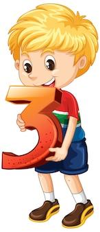 Blond chłopiec trzyma numer trzy matematyki