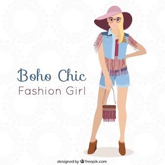 Blond dziewczyna boho-chic