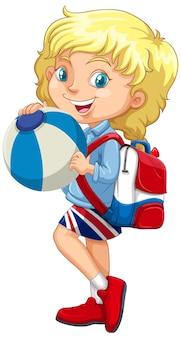 Blondynka trzyma piłkę koloru