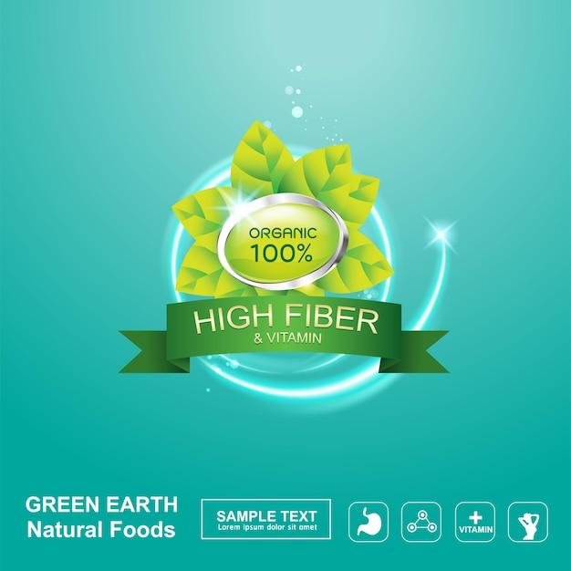 Błonnik w szablonie tła logo ekologiczne żywności