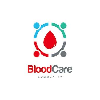 Blood care community logo projektuje wektor koncepcyjny, ikona wektor logo szablonu logo blood people