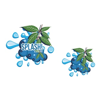 Blue blueberry fruit fresh splash sok napój ilustracji