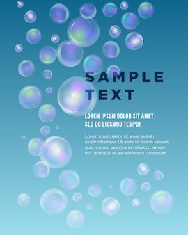 Blue bubble theme z miejscem na tekst. skład abstrakcyjny. niebieska woda oceanu tekstury. bańki mydlane. kreatywne ikony rysunku morskiego. okrągła koralikowa powierzchnia. formularz baneru morskiego. czcionka ulotki kuli.
