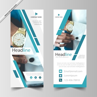 Blue business roll up banner template