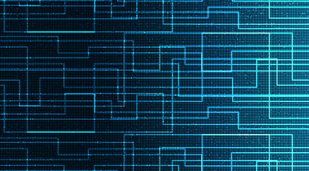Blue circuit microchip na tle technologii, hi-tech cyfrowe i koncepcja bezpieczeństwa