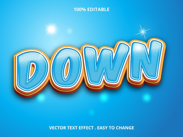 Blue down edytowalny efekt tekstowy na niebieskim tle