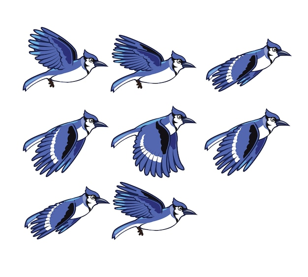 Blue jay cartoon game character animation sprite