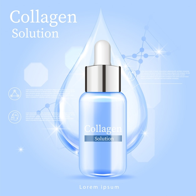 Blue serum facial treatment essence skin care cosmetic.