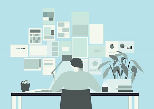 Blue teal office room
