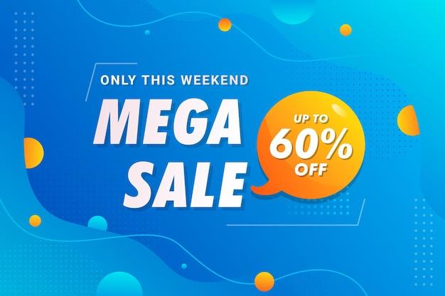 Blue weekend big mega wyprzedaż szablon transparent wektor premium
