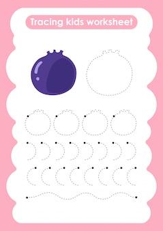 Blueberry - arkusz ćwiczeń pisania i rysowania linii śladowych dla dzieci