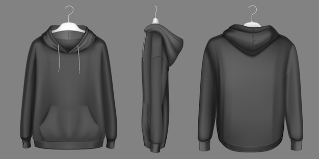 Bluza z kapturem, czarna na wieszaku makieta z przodu, z boku iz tyłu. izolowana bluza z długimi rękawami, kangurkową kieszenią i troczkami. sportowa, codzienna odzież miejska, realistyczny szablon 3d