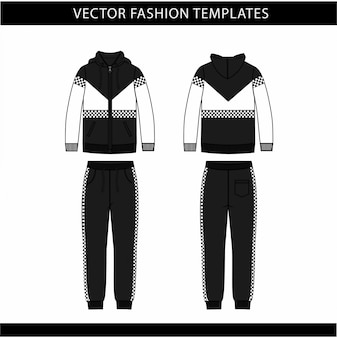 Bluza z kapturem i spodnie dresowe moda płaski szablon szkicu, strój do biegania z przodu iz tyłu, strój sportowy