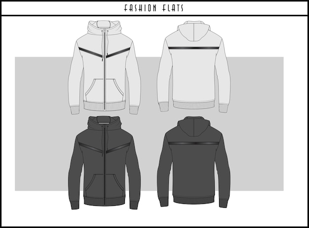 Bluza z kapturem na zamek fashion flat illustration design