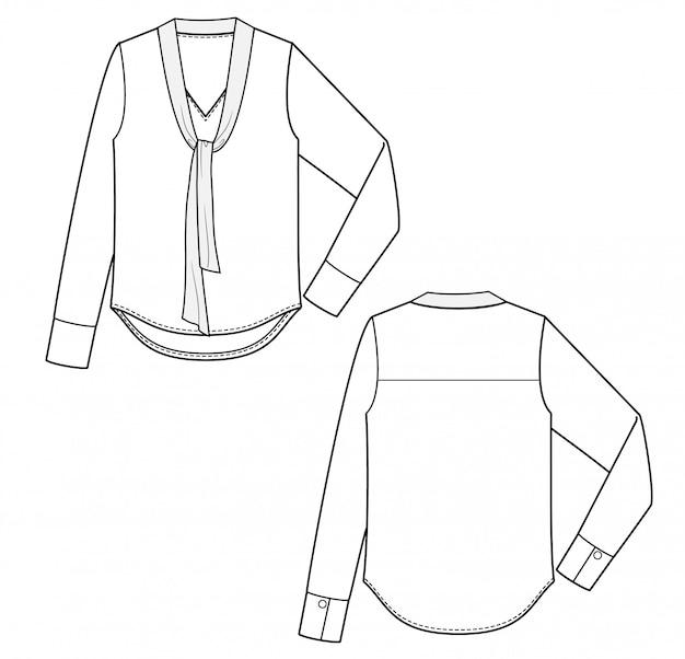 Bluzka moda płaski rysunek techniczny szablon