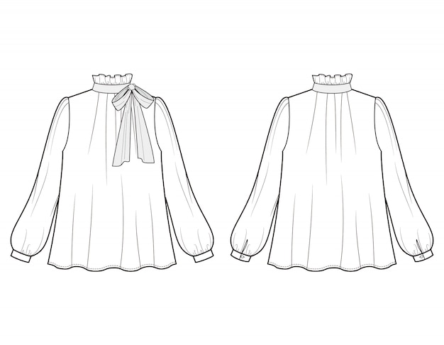 Bluzka płaski szablon szkic mody