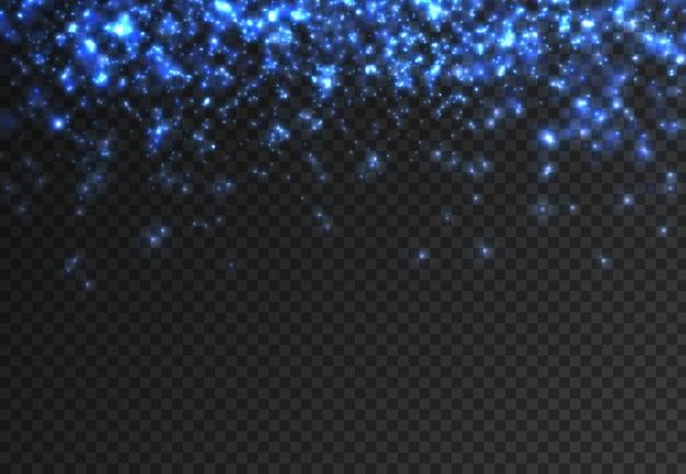Błysk niebieskich iskierek jasny neonowy niebieski lśniący gwiezdny pył z błyszczących cząstek