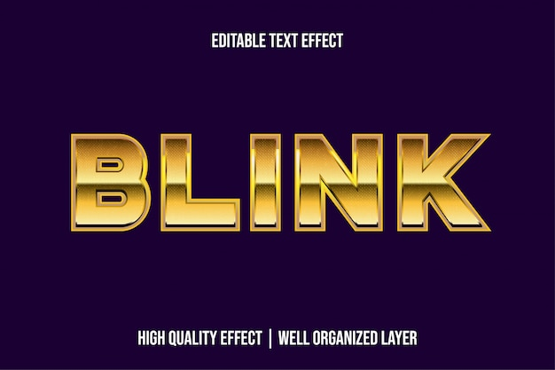 Błysk złotego luksusowego stylu metal text effect