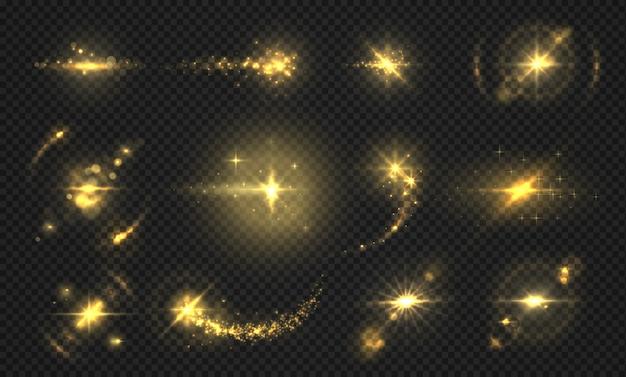 Błyska światła i iskry. efekt złotego brokatu, błyszczące przezroczyste drobinki i promienie, abstrakcyjne efekty flary.