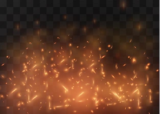 Błyskają ogniste iskry świateł boke
