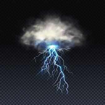 Błyskawica z szarą chmurą odizolowywającą na przejrzystym tle