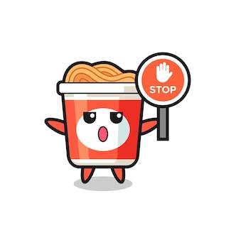 Błyskawiczna ilustracja postaci z makaronem trzymająca znak stopu, ładny styl dla t shirt, naklejki, element logo