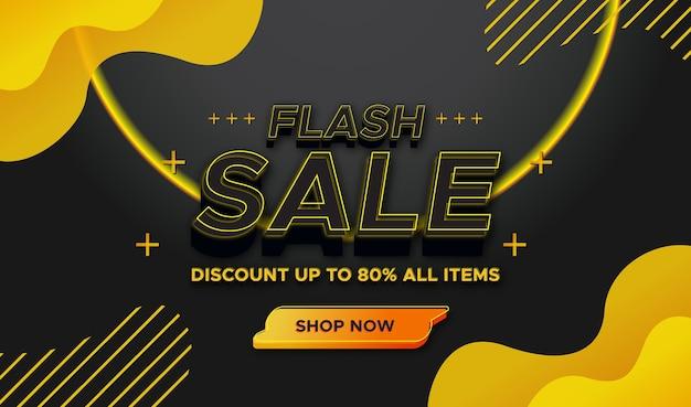 Błyskawiczna sprzedaż nowoczesny baner z szablonem w kolorach czarnym i żółtym