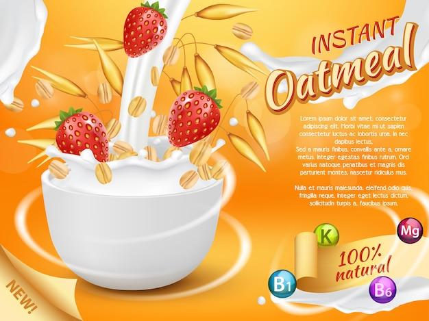 Błyskawiczne płatki owsiane realistyczne ilustracje. zdrowy produkt naturalny ze świeżymi i dojrzałymi truskawkami, plamami mleka. promo musli owsiane.
