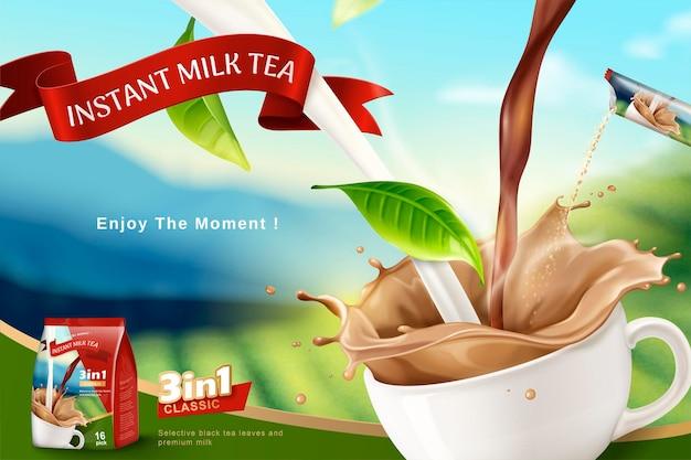 Błyskawiczny baner herbaty mlecznej z polem tarasowym bokeh w stylu 3d