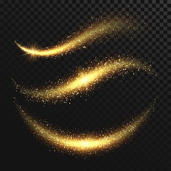 Błyskawiczny gwiezdny pył. złote błyszczące magiczne wektor fale z cząstek złota na białym tle na czarnym tle. brokat jasny szlak, świecące ilustracja migocząca fala