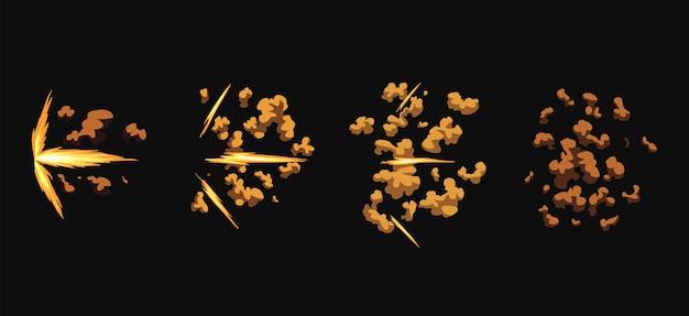 Błyski broni lub animacja wystrzału. efekt flash kreskówki od pocisku. strzał ze strzelby, błysk lufy i wybuch. błyski dymem i ogniem błyszczą