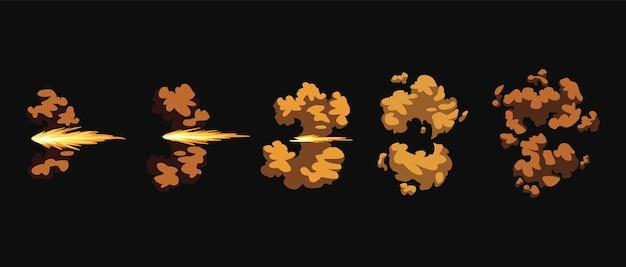 Błyski broni lub animacja wystrzału. efekt flash kreskówki od pocisku. strzał ze strzelby, błysk lufy i wybuch. błyski dymu i ognia iskrzy.