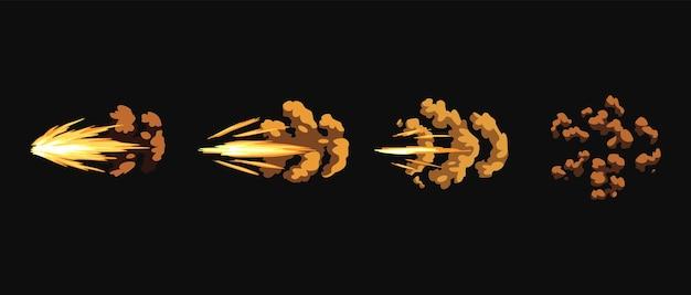 Błyski broni lub animacja wystrzału. efekt wybuchu ognia podczas strzału z pistoletu. efekt flash kreskówki od pocisku. strzał ze strzelby, błysk lufy i wybuch.