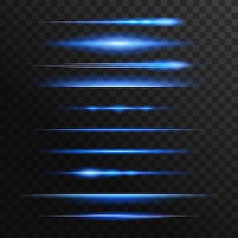 Błyski światła niebieskiego i neonowego, linie wektorowe blasku
