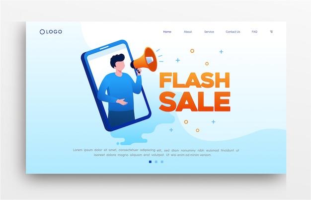 Błyskowej sprzedaży lądowania strony strony internetowej ilustracyjny płaski szablon