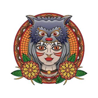 Błyskowy tatuaż dziewczyny i wilka